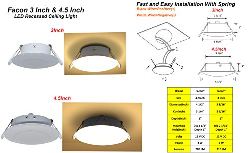 Facon 3 Inch LED RV Puck Light Full Aluminum Recessed Mount Down Light 12V Interior Light for RV Motor-Homes Camper Caravan Trailer Boat