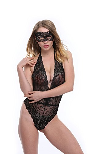 SEXINN Deep V Halterneck and Backless Lace Teddy Sexy Lingerie For Women With Eye Cover, C1-Black, One (Slutty Maid Outfit)