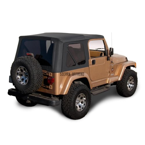 Sierra Offroad Jeep Wrangler TJ (1997-2002) Factory Style Soft Top with Tinted Windows, without Upper Doors (Denim Black) (Jeep Wrangler Soft Top Rear Window Zipper)