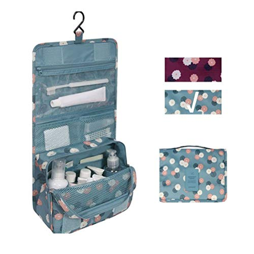 Travel Portable Organizer Cosmetic Bag, Jewelvwatchro Portable Hanging Toiletry Bag for Women or Men for vacation (Blue Daisy)