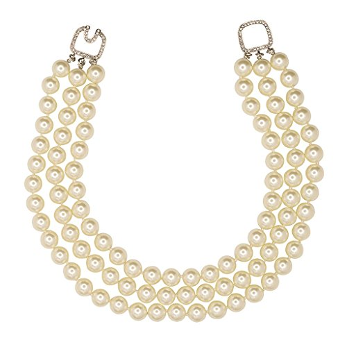 Simulated Pearl Necklace Kenneth Lane Pearls 3 Rows 12mm Barbara Bush Style Pearls w Crystal Clasp