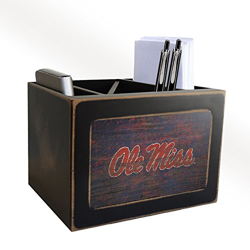 Fan Creations NCAA Ole Miss Rebels Distressed Team Logo Desktop Organizer with Color