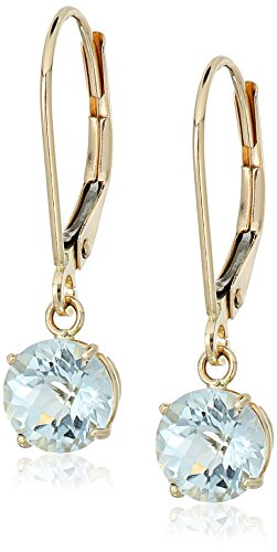 10k Yellow Gold Round Checkerboard Cut Aquamarine Leverback Earrings (6mm)
