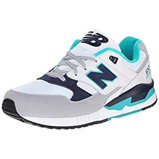 New Balance Men's M530 Classic Running Fashion Sneaker, White/Teal/Navy, 11 D US