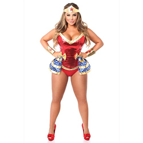 Super Woman Top Drawer Premium 4 PC Superhero Corset Costume by Prima DND
