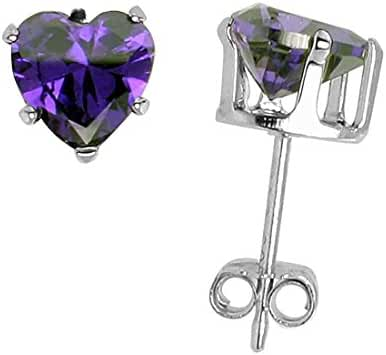Solitaire Heart Stud Earring Simulated Purple Amethyst 925 Sterling Silver