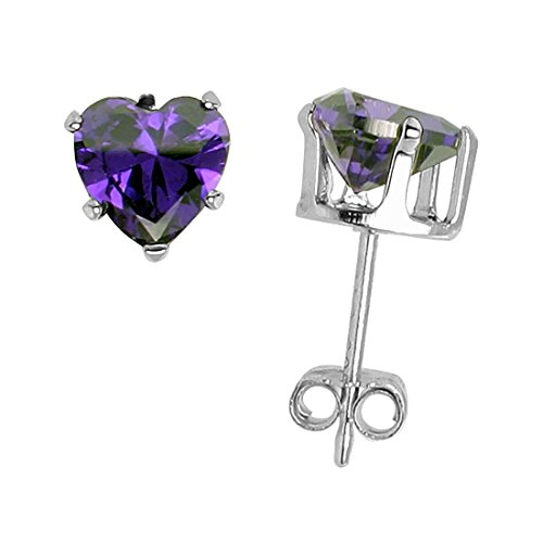 (Solitaire Heart Stud Earring Simulated Purple Amethyst 925 Sterling Silver)