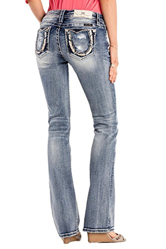 Miss Me Junior's Mid-Rise Boot Cut Jeans With Horseshoe Back Pockets, Light Blue, 30