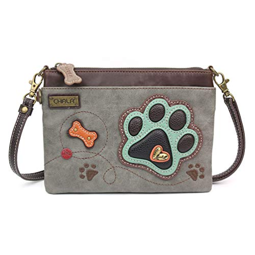 Chala Mini Cross-body Messenger Bag (Pawprint Stone Grey)