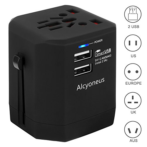 Travel Adapter, Alcyoneus Universal Power Adapter 2.5A USB Wall Charger+AC Power Socket covers 150+countries EU US China UK Australia Japan Germany Spain France Iceland Italy European Plug (Universal Ac Charger)
