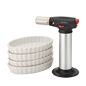 BonJour Chef's Tools Butane Crème Brûlée Torch and Porcelain Ramekin Set, 5-Piece