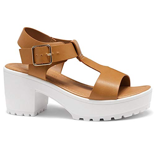 (Herstyle Certain Women's Platform Sandal with Low Heel T-Strap Open Toe Flatform Wedge Ankle Strap Shoes Camel 5.0)