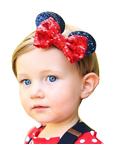 RQJ Baby Girl Headbands Elastic Headwrap Bowknot Mickey Ears Hairband With Sequin Bow Costume Accessory -
