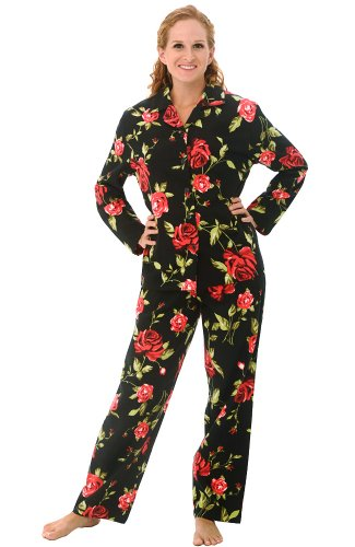 Del Rossa Women's Flannel Pajama Set - Small / 2-4 - Black with Roses (3 Button Flannel)