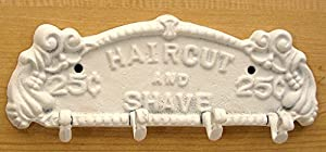 80%OFF Antique Style Cast Iron Barber Haircut and Shave White Mounted Coat Rack