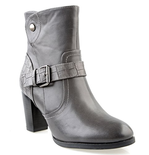 Eyekepper Women 's Fashion forro de franela Belted grueso tacon Botines de tobillo cremallera lateral apilados gris