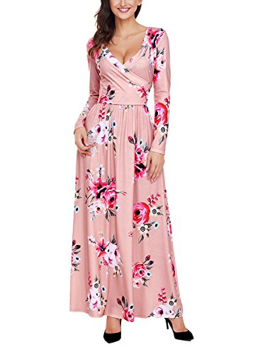 Pink Long Sleeve Dress - Women's Floral Print V Neck Long Sleeve Maxi Casual Dress Small Pink