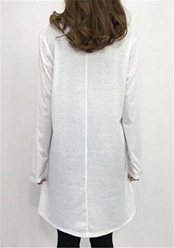 Manches Longues Cromoncent Femmes Ras Du Cou Solide Coupe Ample Tunique Haut Mini-robe Blanche