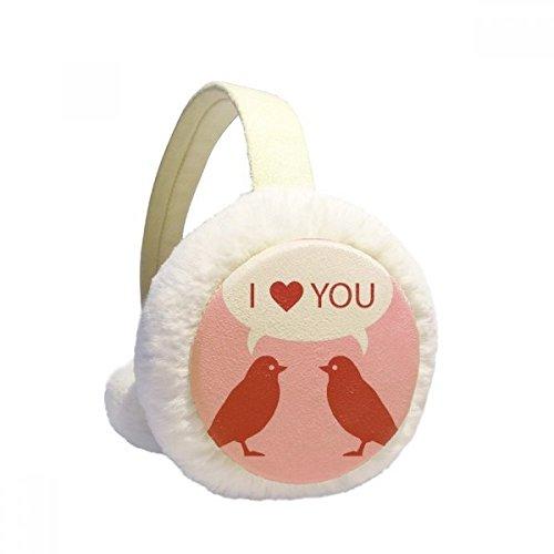 Love Birds Happy Valentines Day Winter Earmuffs Ear Warmers Faux Fur Foldable Plush Outdoor Gift
