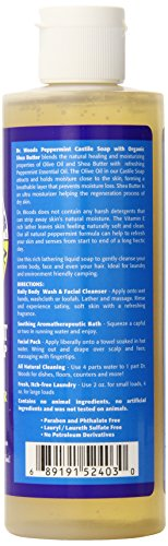 Dr. Woods, Pure Peppermint Castile Soap with Shea Butter, 8-Ounce Pack of 12