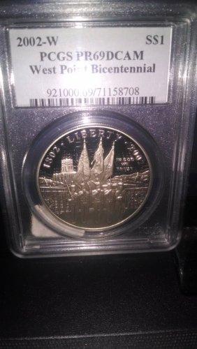 2002-W PCGS PR69 DCAM West Point Bicentennial Commemorative Dollar Coin
