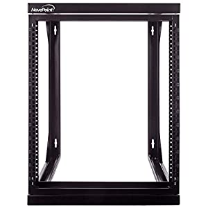 "NavePoint 12U Wall Mount IT Open Frame 19"" Rack with Swing Out Hinged Gate Black"
