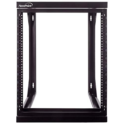 (NavePoint 12U Wall Mount IT Open Frame 19 Inch Rack with Swing Out Hinged Gate Black)