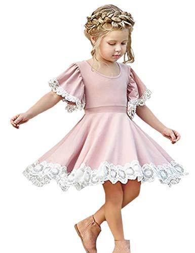 2Bunnies Girl Flutter Ruffle Sleeve Vintage Lace Trim Swirl Dress (Pink, 3T)