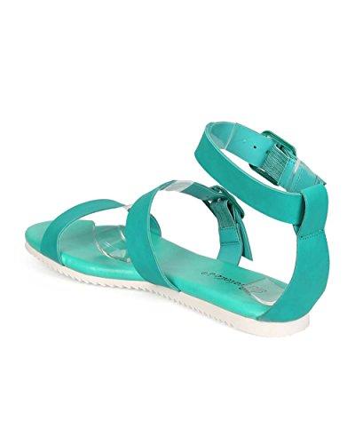 Breckelles EC90 Women Leatherette Open Toe Buckle Minimal Gladiator Sandal Aqua e5xXy