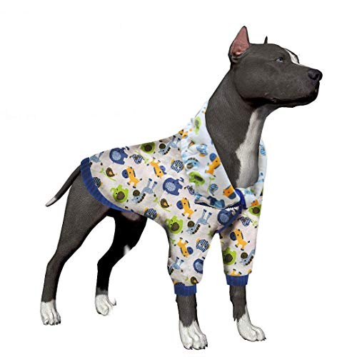 LovinPet Large Dog Pajamas, Post Surgery Wear Pitbull Cotton Large Dog Shirt for Labrador Doberman Boxer