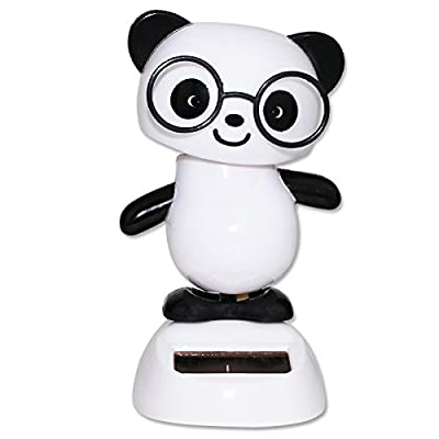 We pay your sales tax Dancing Panda with Black Glasses Solar Powered Toy Office Desk Home Decor Birthday Gift: Toys & Games [5Bkhe1803277]