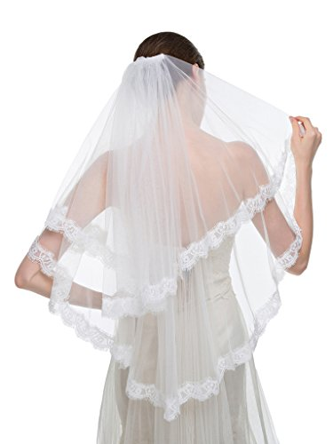 Edith qi 2T 2 Tier Elegant Fingertip Lace Edge Wedding Bridal Veils with Comb