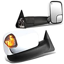 Dodge Ram Pair of Powered + Heated Glass + Signal + Manual Folding Chrome Side Towing Mirrors