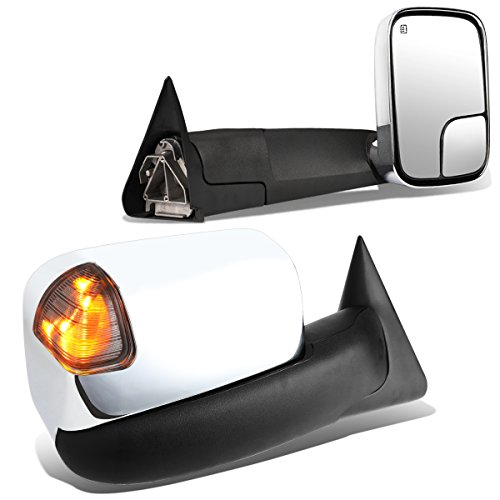 Pair of Powered + Heated Glass + Signal + Manual Folding Chrome Side Towing Mirrors for 98-02 Ram - Ram Dodge Covers Mirror Chrome