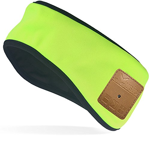 Mydeal Lightweight Bluetooth Headband with Wireless Headphone Headset Earphone Stereo Speakers Mic Hands Free for Fitness Exercise Outdoor Sport,Compatible with Iphone Android Cell Phones - Neon Green