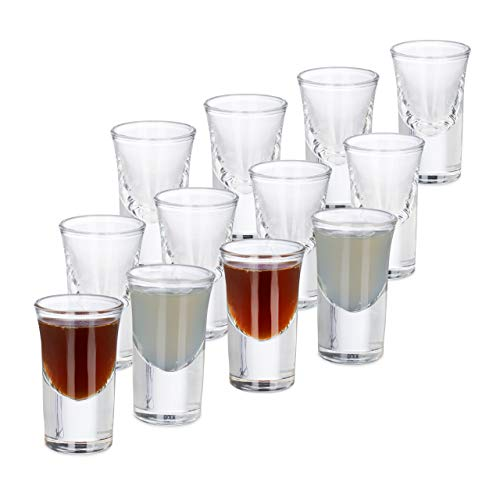 Relaxdays 10023423 Shot Set of 12, 2cl Drinking Game Glasses, Tequila, Vodka, Party, Dishwasher Safe, Transparent for $<!--$26.48-->