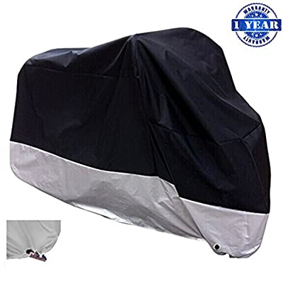 "XYZCTEM All Season Black Waterproof Sun Motorcycle Cover,Fits up to 108"" Motors (XX Large & Lockholes) by XYZCTEM"