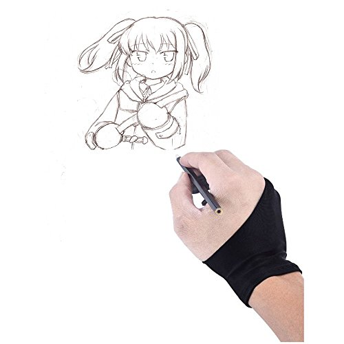 HITOP 2 Fingers Artist Glove for Drawing Tablet Display LED Light Box Tracing Light Pad Free Size Black