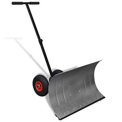 Hand Snow Shovel Thrower Plow Removal Pusher 2 Wheels 5 Angle Blade Path Clean by The Best Shopping