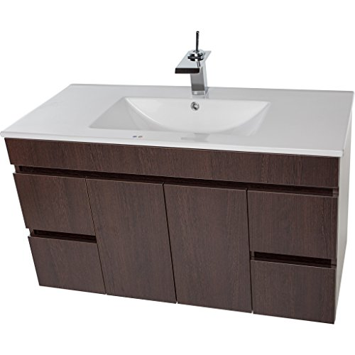 Strato Wall Mounted Bathroom Vanity Cabinet Set Bath Furniture with Single Sink (Wenge, 40 in.) ()
