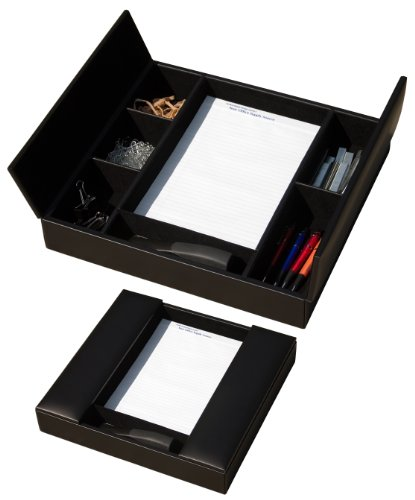 Dacasso Classic Black Leather Enhanced Conference Room Organizer (Leather Conference Room Organizer)