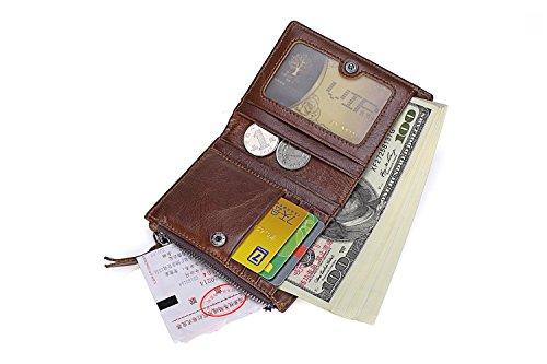 Ying Billetera de hombre Vintage Short First Layer Billetera de cuero Double Zipper Monedero de piel de becerro Vertical Bags Brown