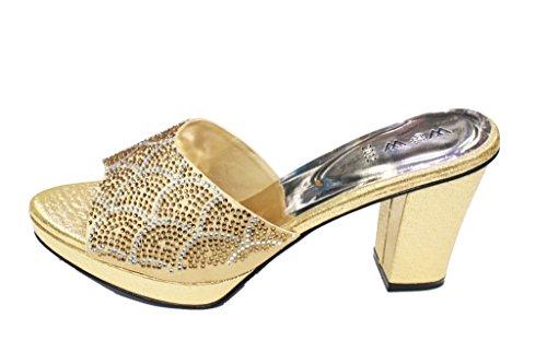 W & W Mujeres Ladies Diamante Slip On Zapatos de novia boda partido noche tacón bloque sandalias Size4–10(Rivo) dorado