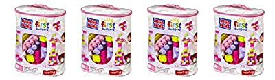 Mega Bloks NGJbTT 80 Piece Big Building Bag, Classic, Pink, 4 Units
