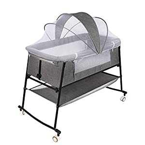 Bedside Sleeper, Bassinet Bed, Baby Crib, Bed Side Crib, Folding Portable Crib for Travel, Rocking Cradle, with Crib Mosquito Netting, Crib for Infant/Baby Boy/Baby Girl/Newborn