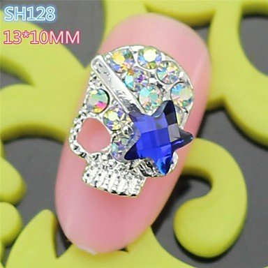 QINF 10PCS SH128 Blue Eyes Full Rhinestone Cool Halloween Skull Style Easy halloween nail art design Nail Salon (Cool Easy Halloween Nail Designs)