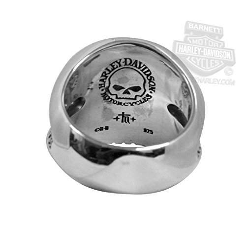 Harley Davidson Mens One Eyed Willie G Skull Silver Ring