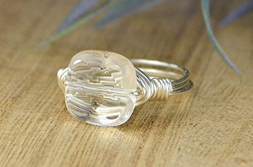 Faceted Clear Quartz Square Gemstone Bead and Sterling Silver, Yellow or Rose Gold Filled Wire Wrapped Ring- Made to size 4-14