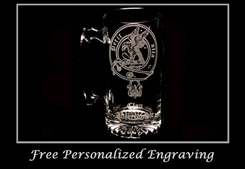 Clan Abercrombie (or Abercromby) Scottish Crest 27oz Stein, Family Crest, Etched Clan Crest by LyonCraft