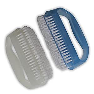 Coralpearl Finger Nail Brush for Deep Cleaning Hand Scrub Cleaner With Cuticle Remover Blue and White Tool Set Pack of 2